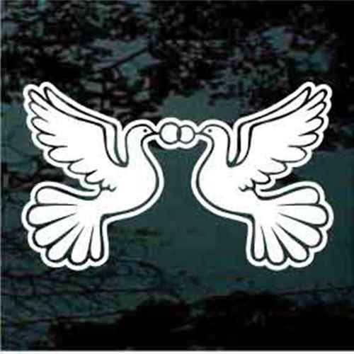 Pair Of Wedding Doves With Rings Window Decals