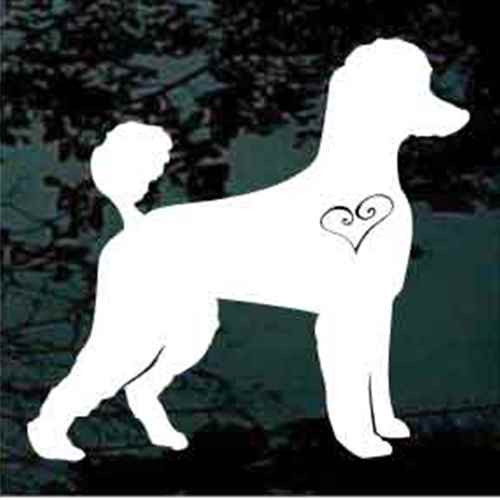 Poodle Heart Silhouette Decals