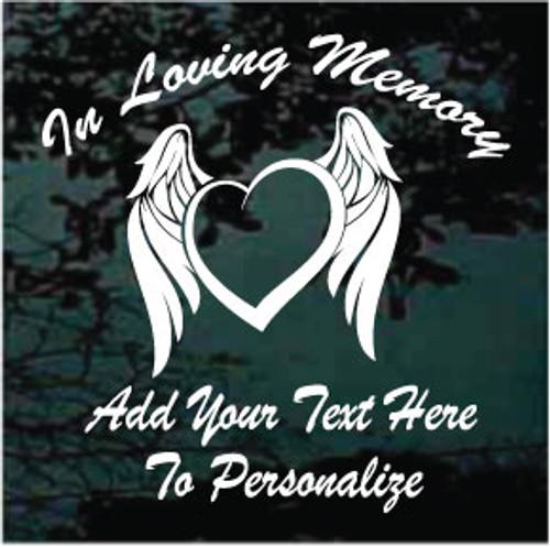 Angel Wings Heart Memorial Decals