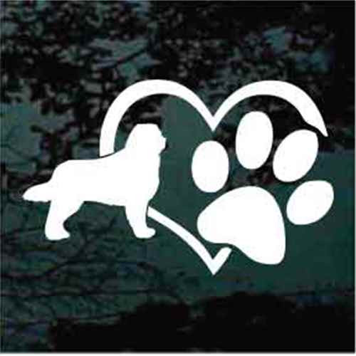 Bernese Mountain Dog Heart Paw Window Decal
