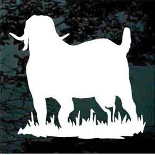 Boer Goat Standing In Grass Silhouette Window Decals