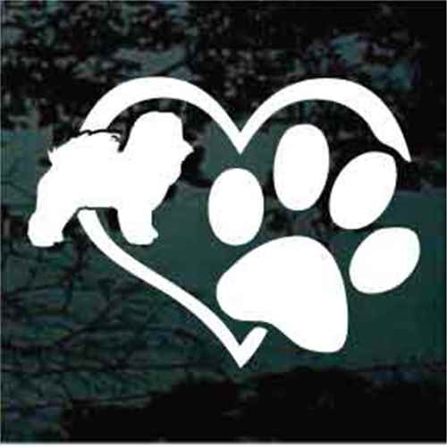 Bichon Frise Heart Paw Window Decal