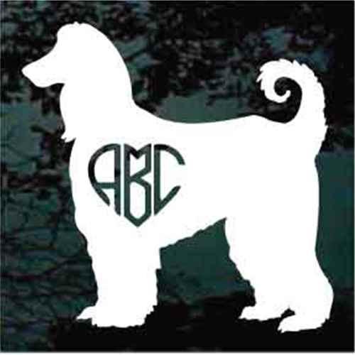 Afghan Hound Dog Heart Monogram Window Decals