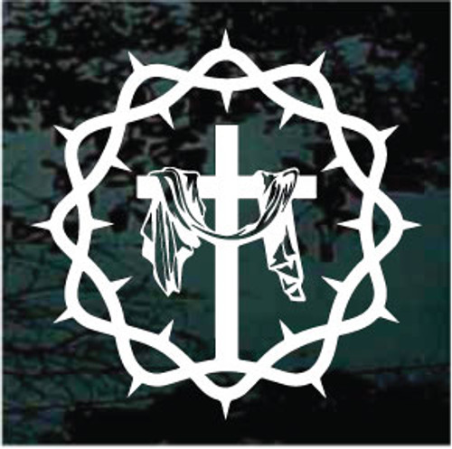 Cross Inside Crown Of Thorns Decals