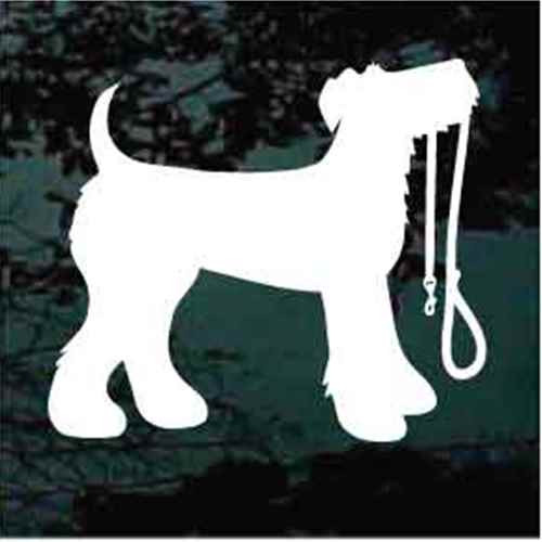 Airedale Terrier With Leash Window Decal