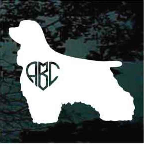 Cocker Spaniel Monogram Window Decal