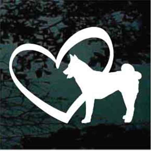Akita Inside Heart Window Decals
