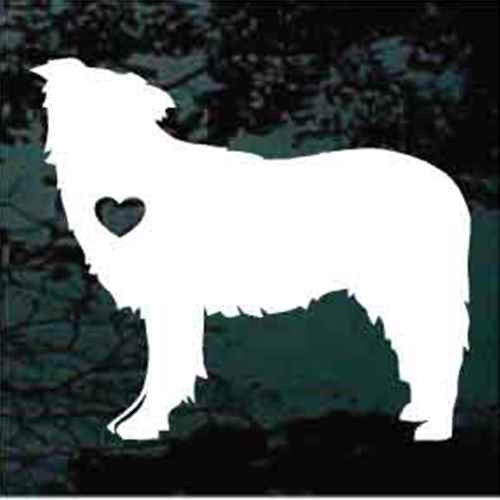 Border Collie Heart Window Decal