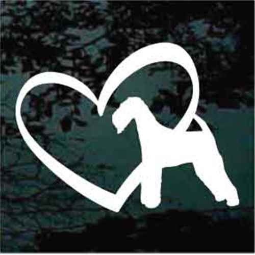 Airedale Terrier Inside Heart Window Decal