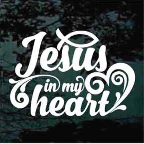 Jesus In My Heart Window Decal
