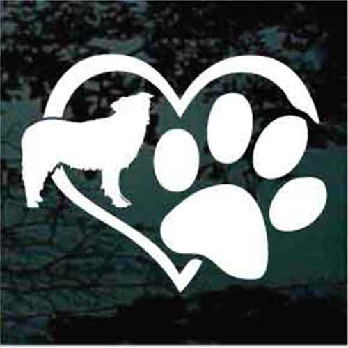 Border Collie Heart Paw Window Decal