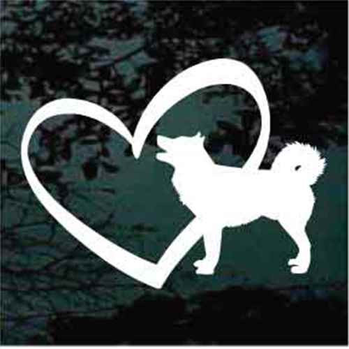 Alaskan Malamute Inside Heart Window Decals
