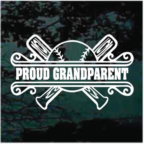 Proud Grandparents Baseball Border Window Decals