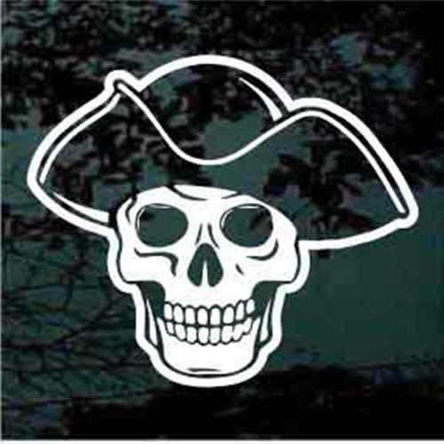 Pirate Skull Wearing Hat Window Decals