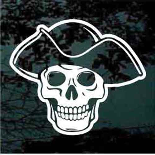 Pirate Skull Wearing Hat Window Decals