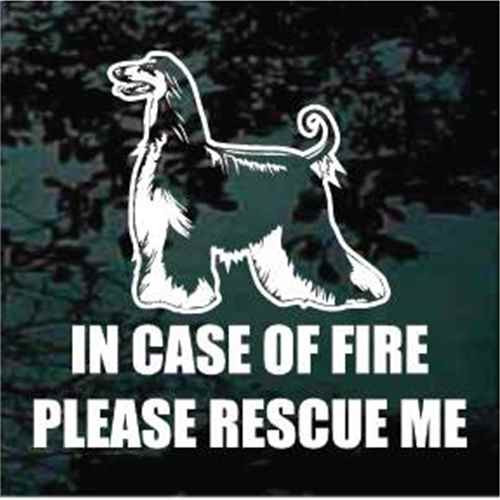 Afghan Hound Fire Rescue Window Decals