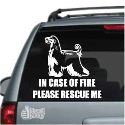 Afghan Hound Fire Rescue Dog Car Decal