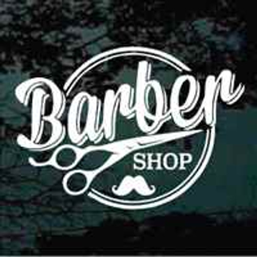 Round Barber Shop Window Sign With Mustache