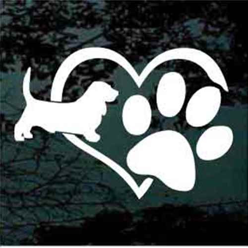 Basset Hound Heart Paw Window Decals