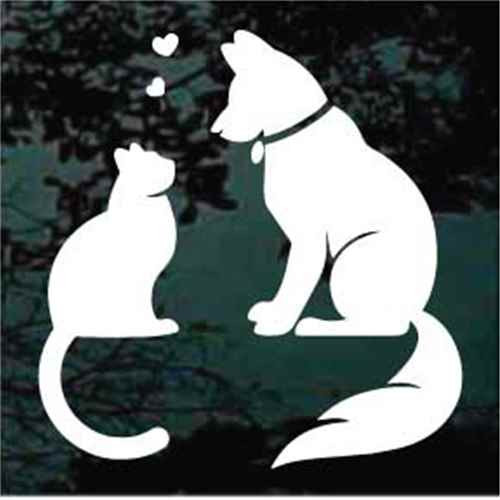 Dog & Cat Love Hearts Window Decal