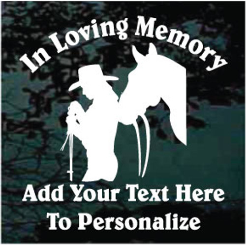 Cowgirl With Horse Memorial Decals