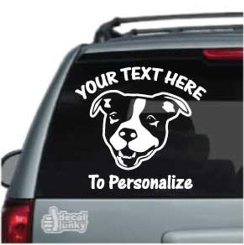 Friendly Pitbull Head Car Window Decal