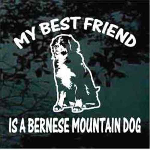 Bernese Mountain Dog Sitting Best Friend Window Decal