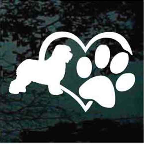 Old English Sheepdog Heart Paw Decals