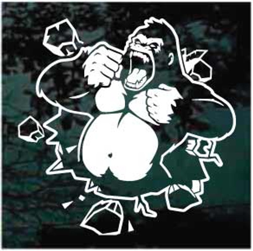 Angry Gorilla Pounding Chest Window Decals