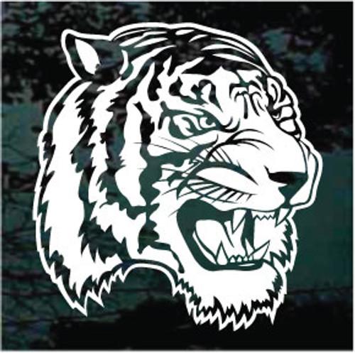 Tiger Head Showing Teeth Window Decals