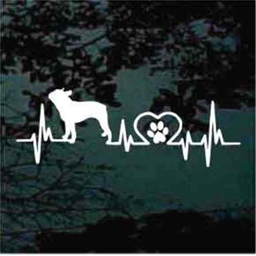 Boston Terrier Heartbeat Window Decals