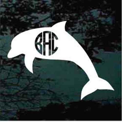 Dolphin Circle Monogram Window Decals