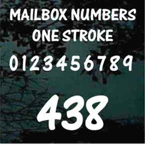 Mailbox House Numbers One Stroke Text - Set of Two
