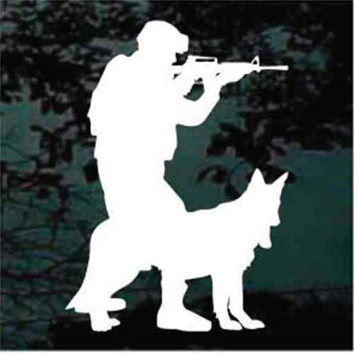 Military Soldier With Working Service Dog Window Decal
