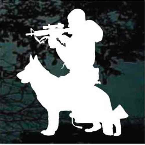 Soldier With Working Service Dog Window Decal
