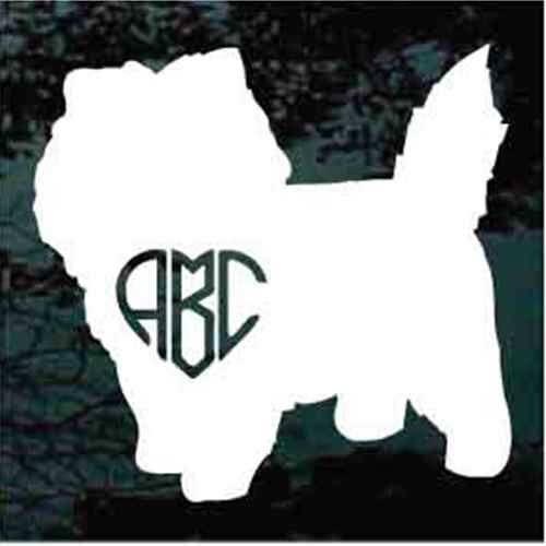 Cairn Terrier Heart Monogram Window Decal
