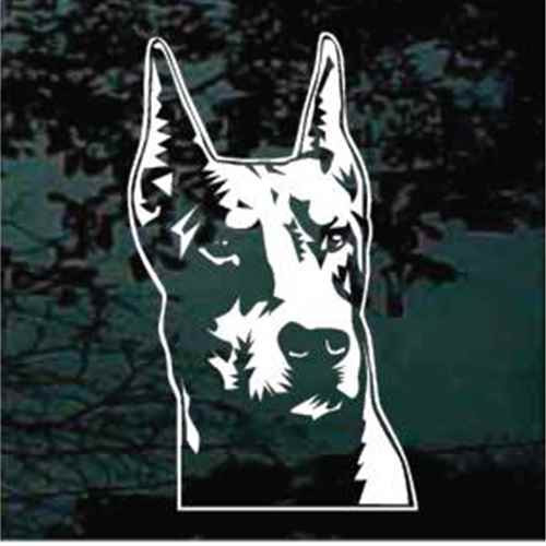 Realistic Doberman Head Window Decal