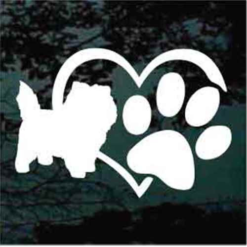 Cairn Terrier Heart Paw Window Decal