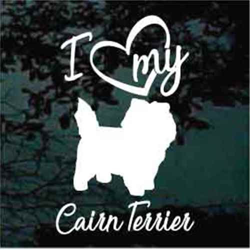 I Love My Cairn Terrier Script Text Window Decals