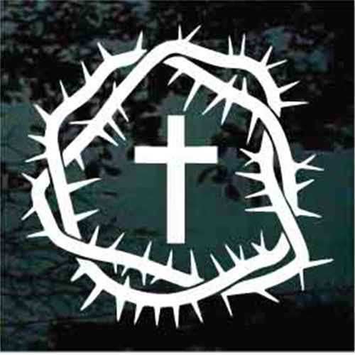 Crown Of Thorns With Christian Cross Decals