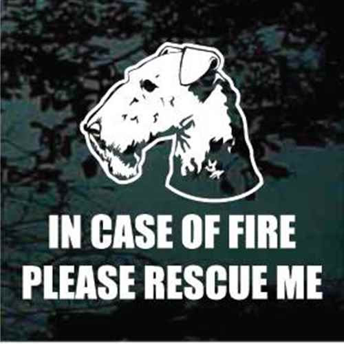 Airedale Head Fire Rescue Window Decals