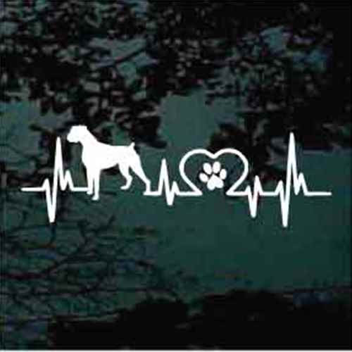 Boxer Heartbeat Window Decal