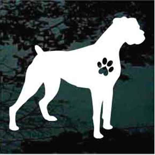 Boxer Standing with Heart Paw Print Window Decals