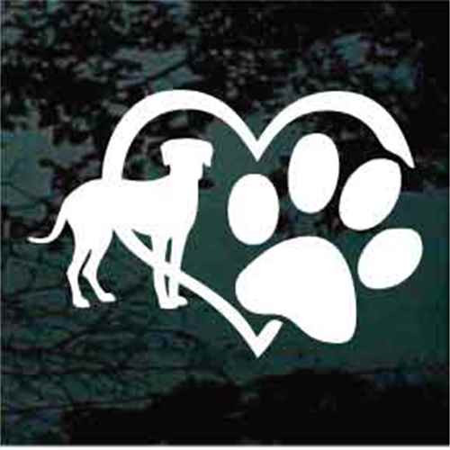 Catahoula Cur Heart Paw Window Decal