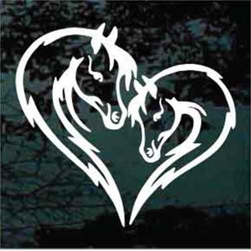 Horse Heads Heart Window Decals
