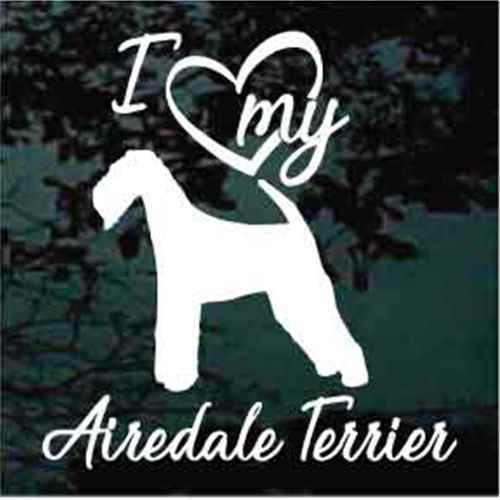 I Love My Airedale Terrier Window Decals