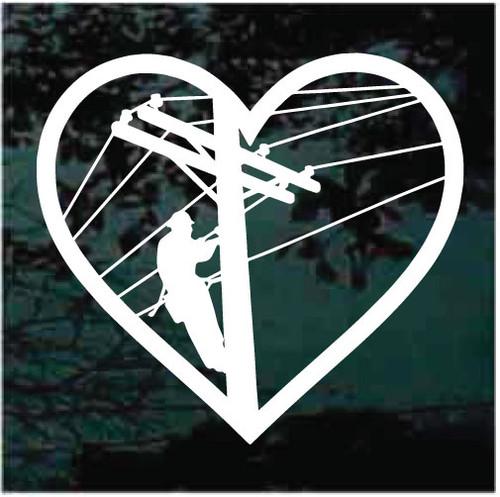 Linemen Heart Decals