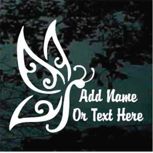 Decorative Butterfly Brody Script Text Window Decals