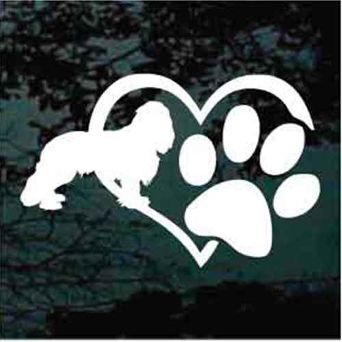 Cavalier Spaniel Heart Paw Window Decals