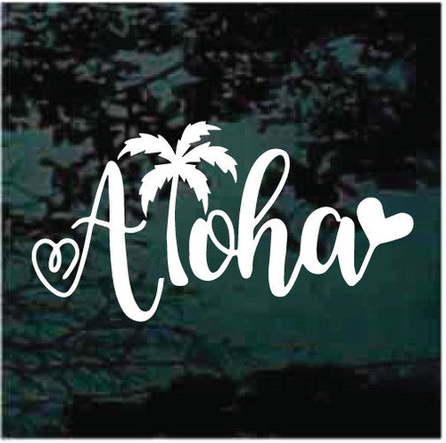 Hawaiian Aloha With Palm Tree & Solid Heart Window Decals
